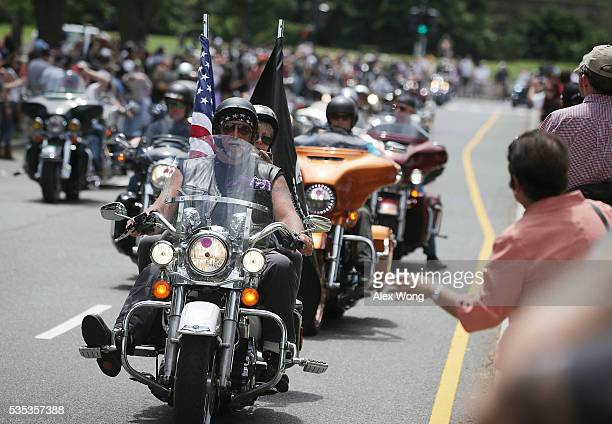 Bikers participate in the annual Rolling Thunder First Amendment Demonstration Run May 29 2016 in Washington DC Bikers are gathering in the annual...