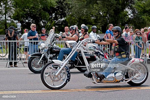 Bikers passing crowd at Rolling Thunder motorcycle rally