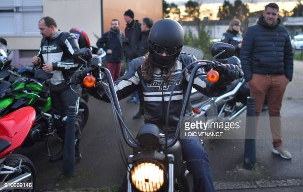 Bikers protest against the new road safety rules and the 80 km/h new speed limit on January 26 2018 in Nantes western France / AFP PHOTO / LOIC...