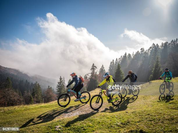 bikers riding mountain bikes - mountain bike stock pictures, royalty-free photos & images