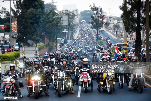 Bikers set out in a pilgrimage convoy from Constitution Square in Guatemala City to Esquipulas 222 km to the east to visit a 16thcentury carved black...