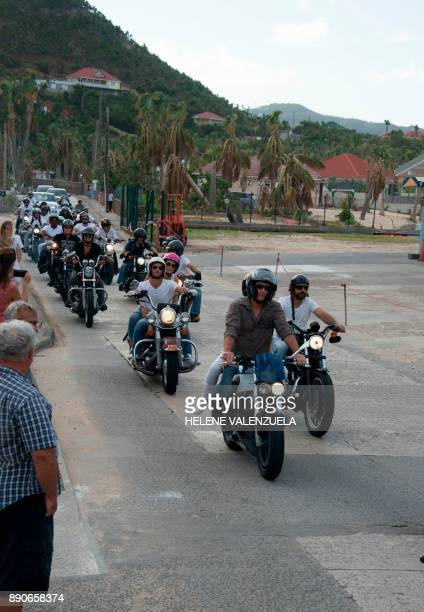 Bikers take part in the funeral procession for French rock icon Johnny Hallyday who was buried in the Lorient cemetery in Saint Barthélemy on...