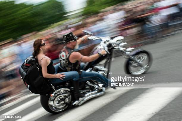 TOPSHOT Bikers take part in the Rolling thunder parade part of the Memorial weekend honouring war veterans in Washington on May 26 2019 Thousands of...