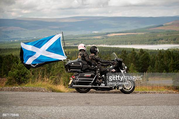 Bikers take part in Thunder In The Glen, one of Europe's largest annual gatherings of Harley-Davidson motorcycle enthusiasts in the Highlands of...