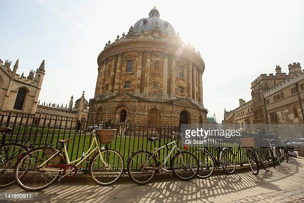 Bikes are chained to the railings in front of the Radcliffe Camera building on March 22 2012 in Oxford England
