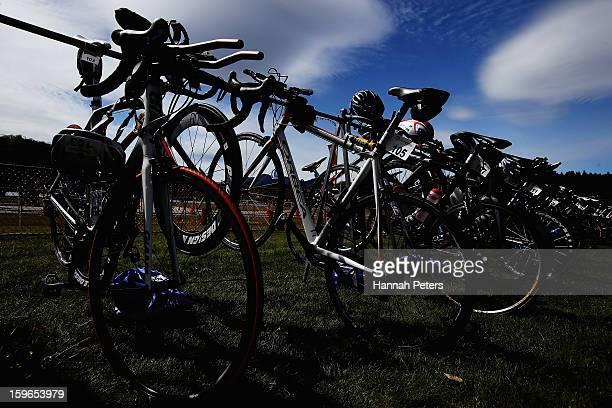 Bikes are stacked prior to the Challenge Wanaka on January 18 2013 in Wanaka New Zealand