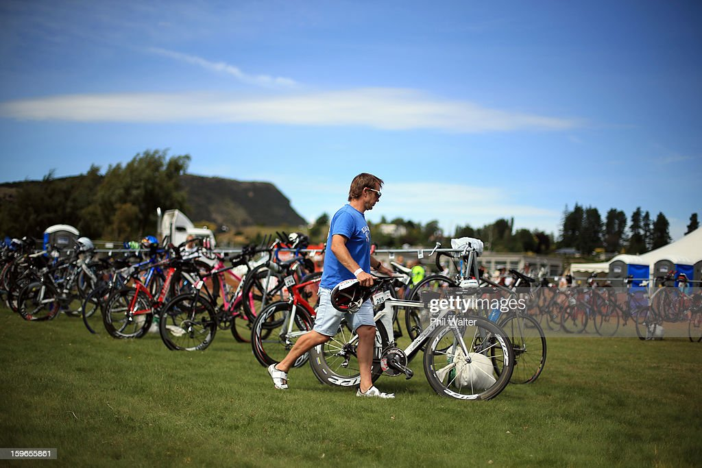 Bikes are stacked prior to the Challenge Wanaka on January 18, 2013 in Wanaka, New Zealand.
