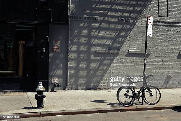 Bikes in a New York City sidewalk