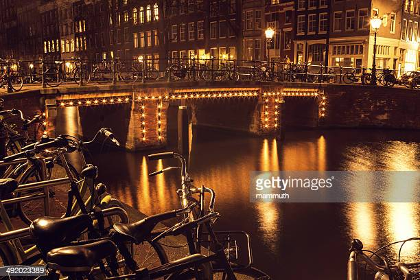 Bikes in Amsterdam in the evening