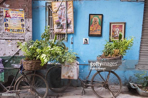 Bikes in Back Alley in Old Delhi India.