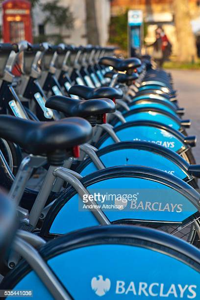 Bikes lined up in the Barclay Cycle Hire stand Mayfair London Part of Transport for London
