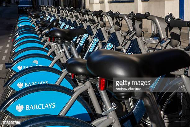 Bikes lined up in the Barclays cycle hire stand Liverpool Street London United Kingdom These bikes often called Boris Bikes after the mayor Boris...