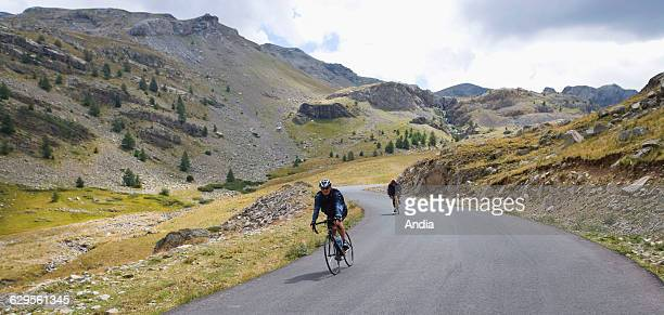 Bikes on the road leading the the 'Col de la Bonette' mountain pass Mercantour National Park in the French Alps