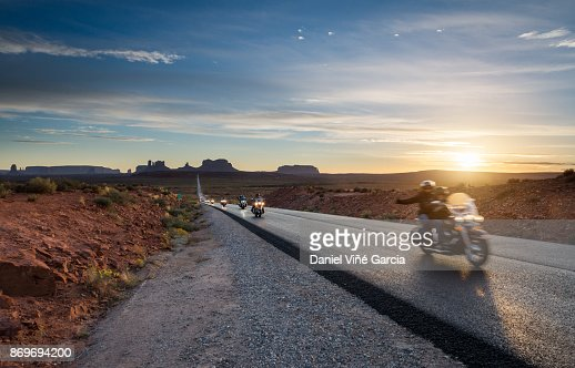 Bikes on the road to Monument Valley