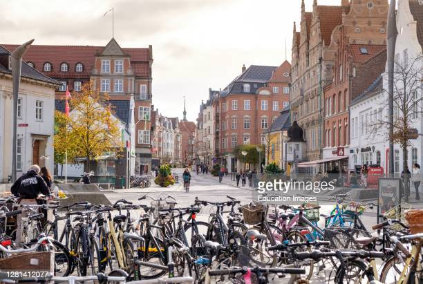 Bikes parked on a square in Aalborg, Denmark,.