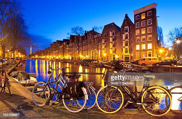 Bikes, Prinsengracht canal towards Westerkerk