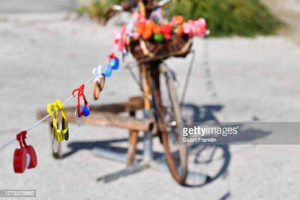 Bikes / Recycling / Decoration / Detail view / during 107th Tour de France 2020, Stage 19 a 166,5km stage from Bourg en Bresse to Champagnole 547m /...