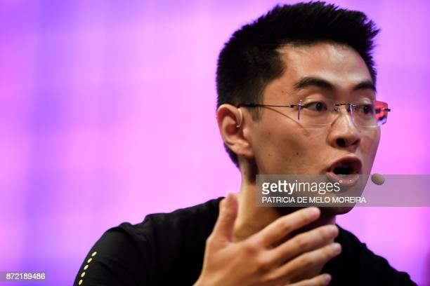 Bikesharing startup Ofo's cofounder and chief operating officer Zhang Yanqi gives an interview during the 2017 Web Summit in Lisbon on November 9...