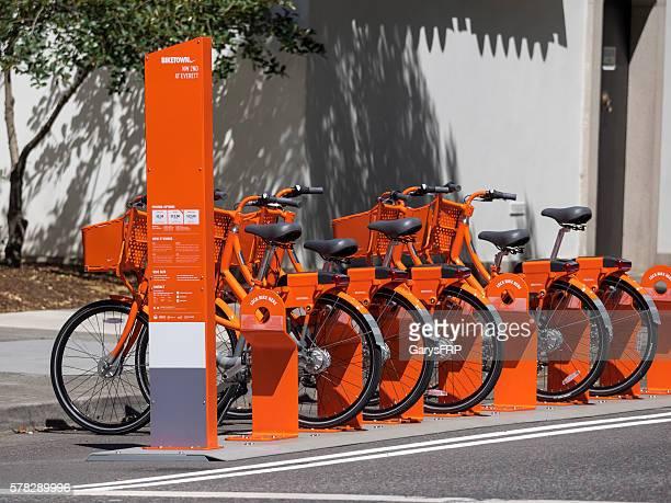 Biketown Bike Share Station Orange Bikes Downtown Portland Oregon
