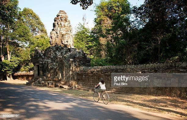 Biking around the Angkor Wat temple in Siem Reap