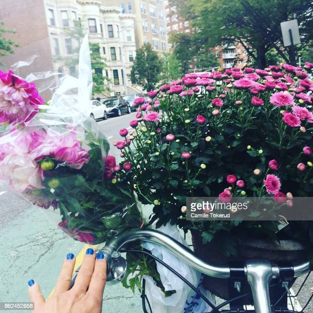 Biking home with flowers