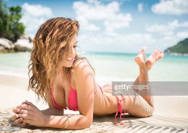 bikini beauty at the beach on vacation - asian swimsuit models stock photos and pictures