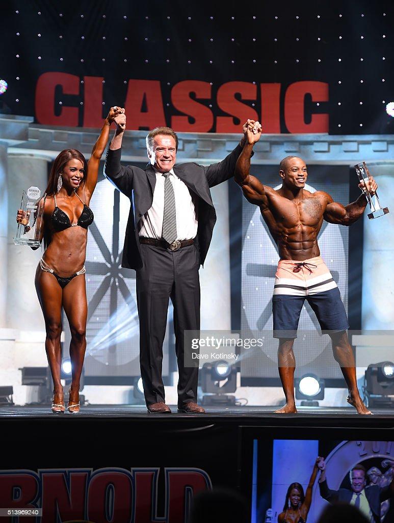 Bikini International winner India Paulino, Arnold Schwarzenegger and Arnold Men's Physique winner Brandon Hendrickson Arnold Sports Festival 2016 on March 5, 2016 in Columbus, Ohio.