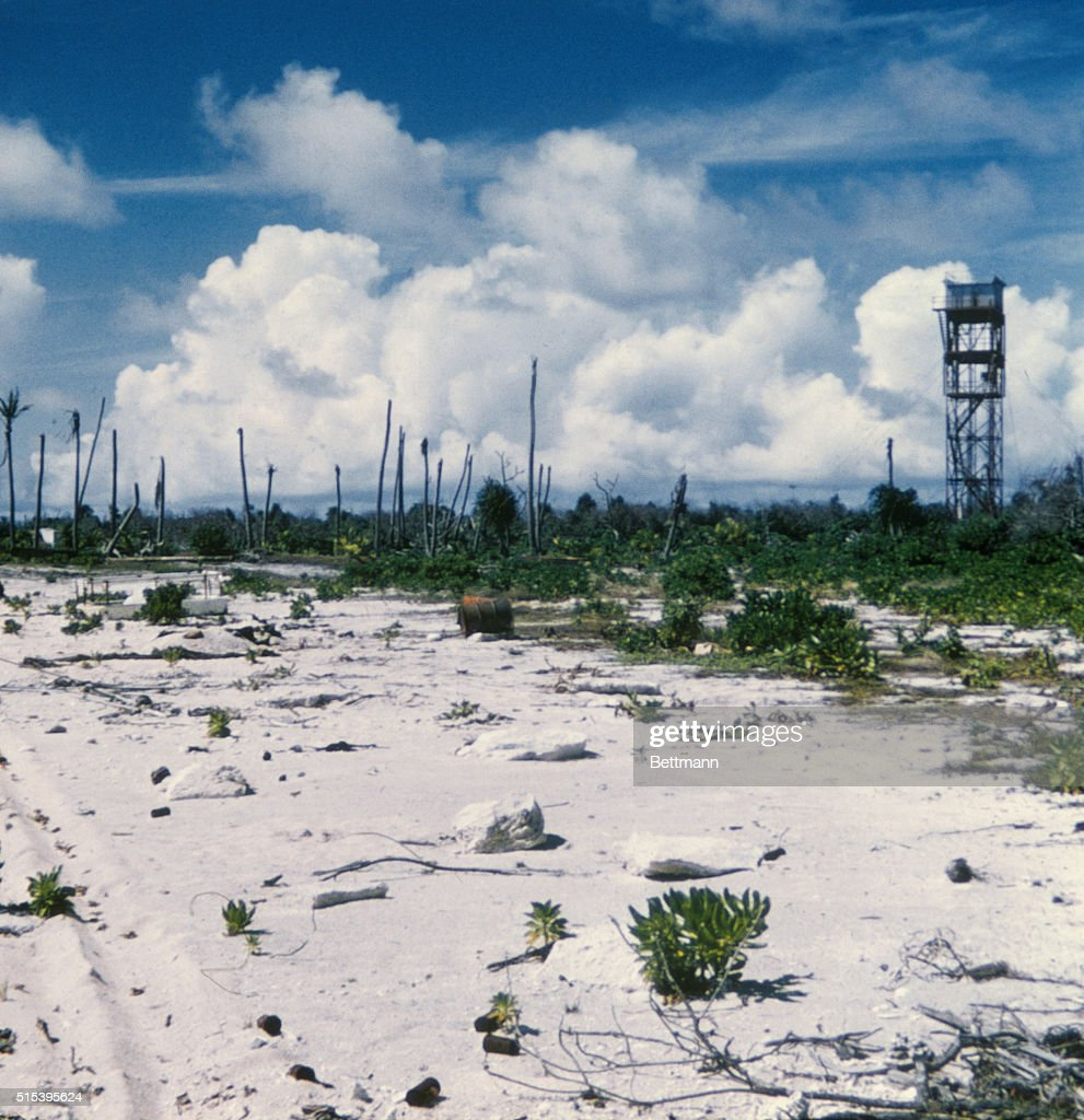 The effects of a blast from a nuclear test are seen on the lagoon ...