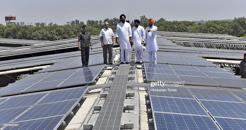Bikram Majithia Punjab Revenue Minister inspecting the world's largest Rooftop Solar Photovoltaic Power plant 115 MW installed on single roof at Dera.