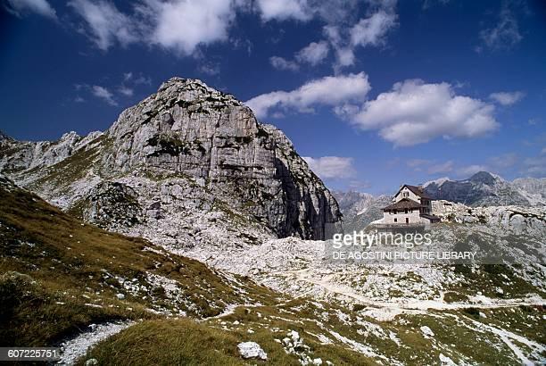 Bila Pec mount and Gilberti mountain hut Julian Alps FriuliVenezia Giulia Italy