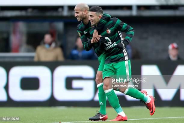 Bilal Basacikoglu of Feyenoord celebrates 07 with Karim El Ahmadi of Feyenoord during the Dutch Eredivisie match between Sparta v Feyenoord at the...