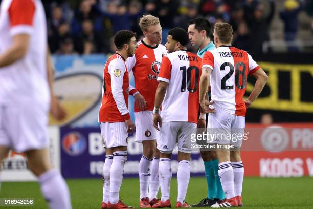 Bilal Basacikoglu of Feyenoord Nicolai Jorgensen of Feyenoord Tonny Vilhena of Feyenoord referee Dennis Higler Jens Toornstra of Feyenoord during the...