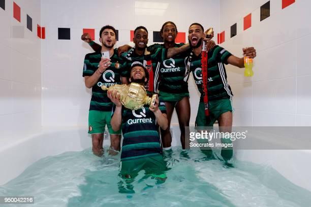 Bilal Basacikoglu of Feyenoord, Tonny Vilhena of Feyenoord, Ridgecciano Haps of Feyenoord, Tyrell Malacia of Feyenoord, Jeremiah St Juste of...