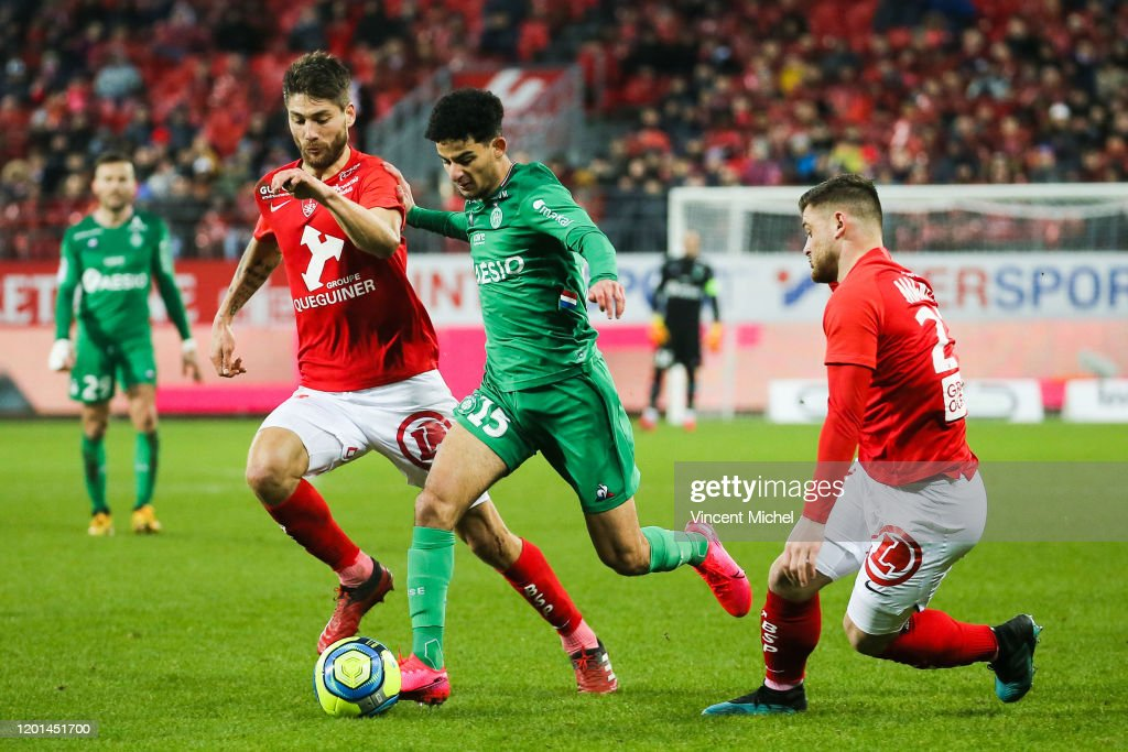 Bilal BENKHEDIM Of Saint Etienne And Paul LASNE Of Brest During The News Photo Getty Images