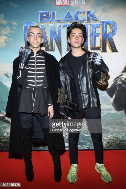 Bilal Hassani and Sparkdise attend the Black Panther Paris Special Screening at Le Grand Rex on February 7 2018 in Paris France