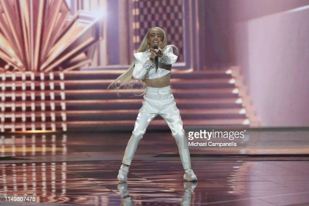 Bilal Hassani from France performs live on stage during the 64th annual Eurovision Song Contest held at Tel Aviv Fairgrounds on May 17 2019 in Tel...