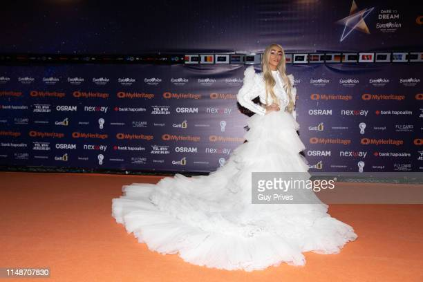 Bilal Hassani of France arrives at the 64th Eurovision Song Contest held at Tel Aviv Fairgrounds on May 12 2019 in Tel Aviv Israel