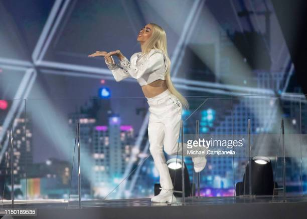 Bilal Hassani representing France arrives on stage during the 64th annual Eurovision Song Contest held at Tel Aviv Fairgrounds on May 18 2019 in Tel...