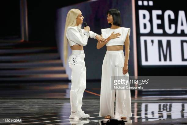Bilal Hassani representing France performs live on stage during the 64th annual Eurovision Song Contest held at Tel Aviv Fairgrounds on May 18 2019...