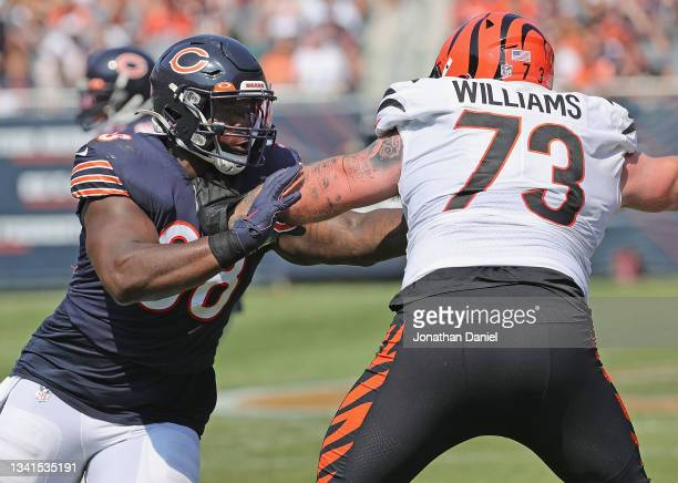 Bilal Nichols of the Chicago Bears rushes against Jonah Williams of the Cincinnati Bengals at Soldier Field on September 19, 2021 in Chicago,...