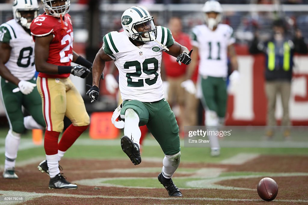 Bilal Powell #29 of the New York Jets celebrates after a five-yard touchdown run against the San Francisco 49ers during their NFL game at Levi's Stadium on December 11, 2016 in Santa Clara, California.