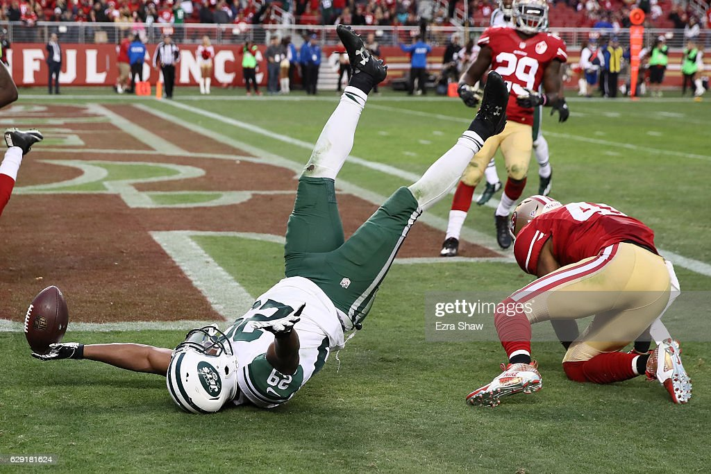 Bilal Powell #29 of the New York Jets celebrates after scoring the game winning touchdown in overtime to beat the San Francisco 49ers 23-17 in their NFL game at Levi's Stadium on December 11, 2016 in Santa Clara, California.