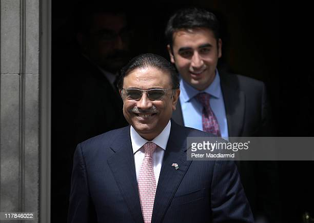 Bilawal Bhutto follows his father President Zardari of Pakistan from Downing Street after talks with British Prime Minister David Cameron on July 1...
