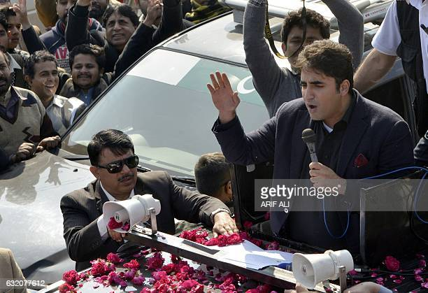 Bilawal Bhutto Zardari chairman of Pakistan Peoples Party addresses supporters as he leads a rally against corruption to Faisalabad from Lahore on...