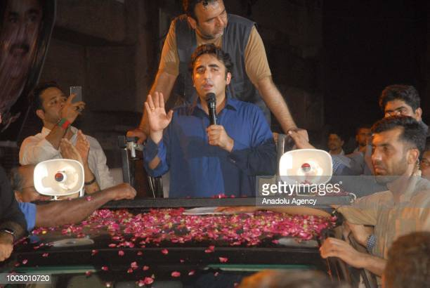 Bilawal Bhutto Zardari Chairman of Pakistan Peoples Party speaks to supporters during an election campaign in Karachi Pakistan on 22 2018
