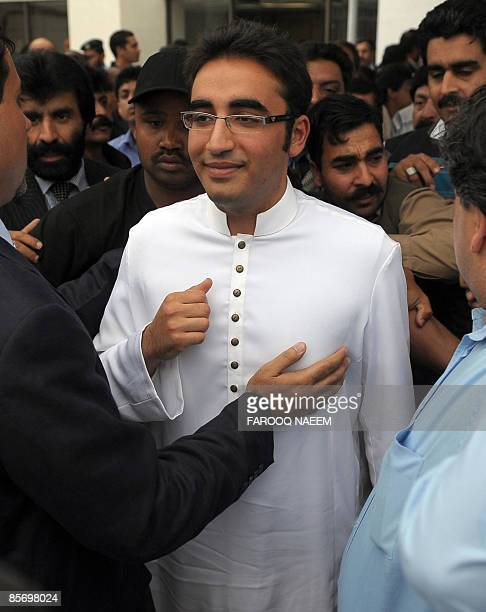 Bilawal Bhutto Zardari, chairman of the ruling Pakistan People's Party leaves after listening to his father, President Asif Ali Zardari's speech in...