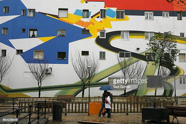 Bilbao Biscay Basque Country Spain Facade of building painted