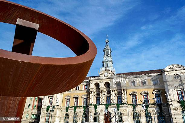 Bilbao City Hall and Jorge Oteiza sculpture Alternative Ovoid, Biscay, Spain
