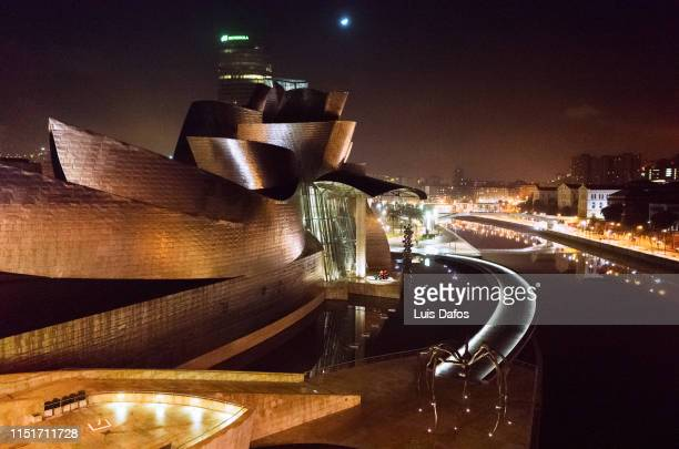bilbao, guggenheim museum by night - dafos stock photos and pictures