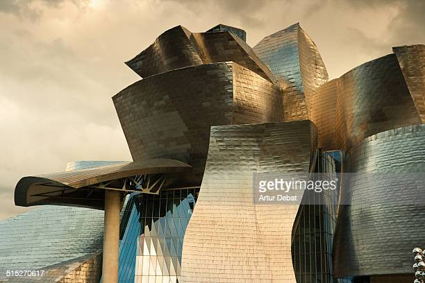 Bilbao Guggenheim museum with titanium façade and nice architecture made by the architect Frank Gehry Basque Country Europe